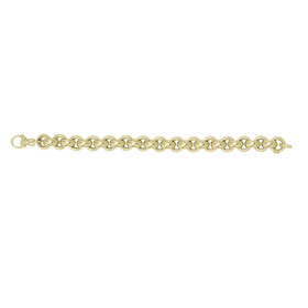 14kt 8.25-inch Yellow Gold Shiny 12.3mm Round Rolo Type Bracelet with Fancy Fleur De Lis Clasp AUF1033-0825