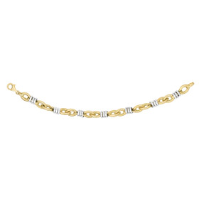 14kt 7.75-inch Yellow+White Gold Shiny 8.8mm Round White Rings On Yellow Marquis Link Fancy Bracelet with Lobster Clasp AUF1036-0775