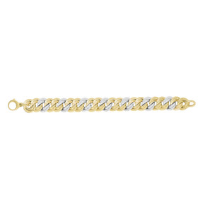14kt 7.5-inch Yellow+White Gold Shiny 14.8mm Alternate 2 Yellow+1 White Twisted Flat Double Round Link Fancy Bracelet with Large Lobster Clasp AUF1048-0750