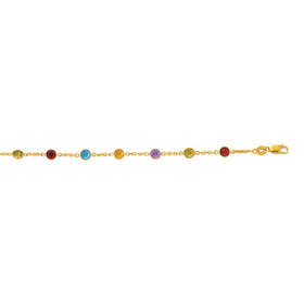 14K Yellow Gold 10-inch 1.1mm Cable Chain Link with Alternate Round Faceted 5 Color STONE with Lobster Clasp ANK152-10