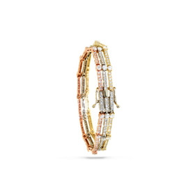 14K Tri-Color Gold 4.48 Carats Diamond Bracelet 21000548
