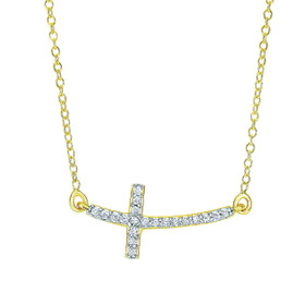 14k Yellow Gold 18 inch 0.12ct Side Cross Necklace with Short curved Side way Cross DGN322-18