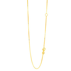 14k 20 inch Yellow Gold 0.8mm Classic Box Chain with with Lobster Clasp with Extender at 18 inch EBOX053-20