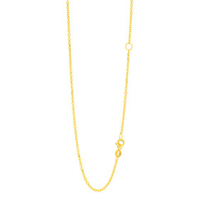 14k 20 inch Yellow Gold 1.5mm Diamond Cut Classic Cable Chain with Lobster Clasp with Extender with Extender at 18 inch ECAB040-20