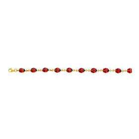 14K 7 inch Yellow Gold Shiny Enamel Ladybug Fancy Bracelet with Pear Shape Clasp EN103-07