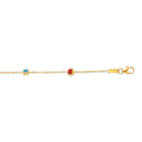14K 5-5.5 inch Yellow Gold Shiny Cable Link Chain+3 Station Lady Bug Adjustable Bracelet with Pear Shape Clasp EN133-0550