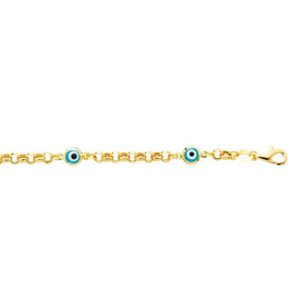 14K 5.5 inch Yellow Gold Shiny Rolo Link Chain+Station Evil Eye Bracelet with Pear Shape Clasp EN163-0550