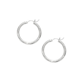 14kt White Gold 3X25mm Shiny Diamond Cut Round Tube Hoop Fancy Earring ER104
