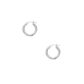 14kt White Gold 3X15mm Shiny Diamond Cut Round Tube Hoop Earring ER106