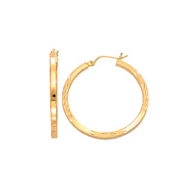 14kt Yellow Gold Fancy Diamond Cut Square Tube Round Hoop Earring ER170