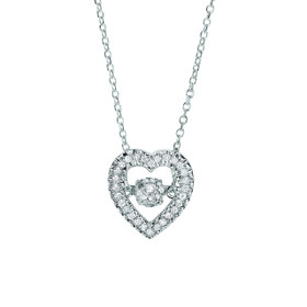 14k White Gold 0.12ct. Diamond Pendant 14K WG 18 inch 0.8MM CABLE LINK CHAIN DGP731-18