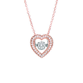 14k Rose Gold 0.12ct. Diamond Pendant 14K 18 inch 0.8MM Pink CABLE LINK CHAIN DGP732-18