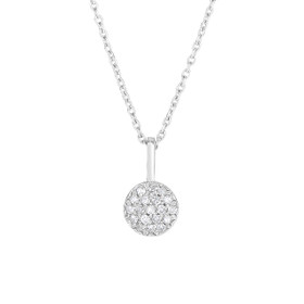 14kt White Gold Shiny 5.9x10.5mm H+I1 Quality 0.10 14KT 16 inch 0.7MM WG RND. CABLE LINK CHAIN DGP736-16