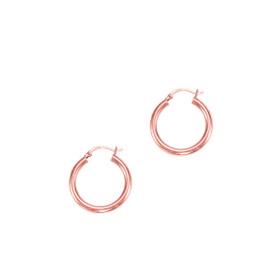 14kt Rose Gold 3x25mm hiny Round Tube Hoop Earring ER374