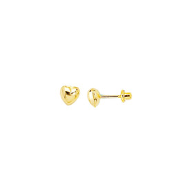 14K Yellow Gold Shiny Small Puff Heart Post Earring ER479