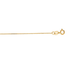 14kt 18 inch Yellow Gold 0.5mm Diamond Cut Cable Link Chain with Spring Ring Clasp FCAB20-18
