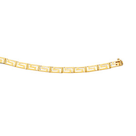14K 7.25 inch Yellow Gold Shiny Graduated Greek Key Fancy Bracelet with Box Catch CLASP GK6-0725