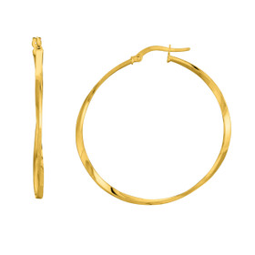 14K Yellow Gold Shiny SquareTube Twisted Hoop Earring ER1817