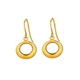 14K Yellow Gold Shiny Graduated Open Circle Drop Earring ER1894