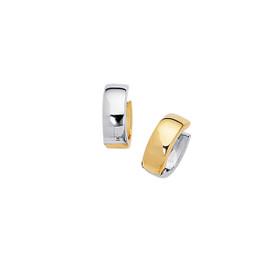 14K Yellow+White Gold Shiny Small Snuggable Earring ER2042