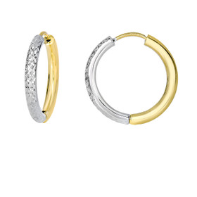 14kt Yellow+White Gold 2.5x15mm Half Diamond Cut W hite+Half Shiny Yellow Hoop Earring ER3080