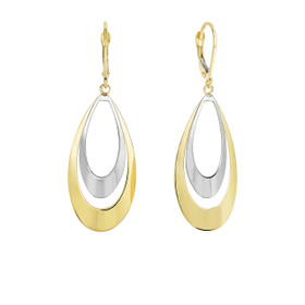 14k Yellow+White Gold 47x17mm Shiny Flat Convex Double Tear Drop Graduated Earring with Leverback Clasp ER3505