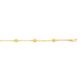 14K 7 inch Yellow Gold Shiny Rolo Chain Link+Puffed Heart Bracelet with Lobster Clasp HT105-07