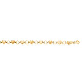14K 7 inch Yellow Gold Textured Shiny Heart Fancy Bracelet with Pear Shape Clasp HT127-07