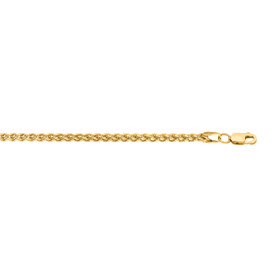 14kt 24 inch Yellow Gold 2.8mm Lite Weigth Wheat Chain with Lobster Clasp HW070-24