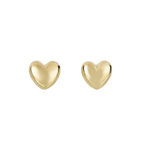 14kt Yellow Gold Shiny 8x7.3mm Puff Heart Fancy Post Earring with Push Back Clasp ER4084