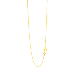 14k 18 inch Yellow Gold 1.1mm Classic Singapore Chain with spring Ring Clasp with Extender at 16 inch ESING020-18