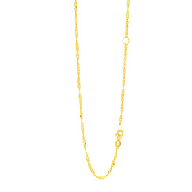 14k 18 inch Yellow Gold 1.7mm Classic Singapore Chain with spring Ring Clasp with Extender at 16 inch ESING030-18
