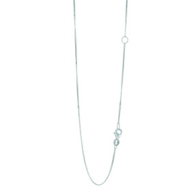 14k 18 inch White Gold 0.8mm Classic Box Chain with with Lobster Clasp with Extender at 16 inch EWBOX053-18