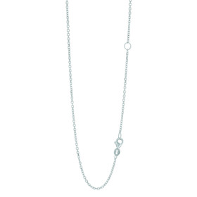 14k 18 inch White Gold 1.5mm Classic Diamond Cut Cable Chain with Lobster Clasp with Extender at 16 inch EWCAB040-18