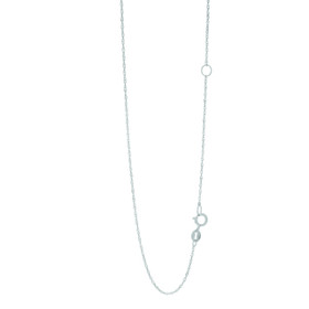 14k 18 inch White Gold 1mm Classic Singapore Chain with Spring Ring Clasp with Extender at 16 inch EWSING020-18