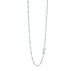 14k 18 inch White Gold 1.7mm Classic Diamond Cut Cable Chain with Lobster Clasp with Extender at 16 inch EWSING030-18