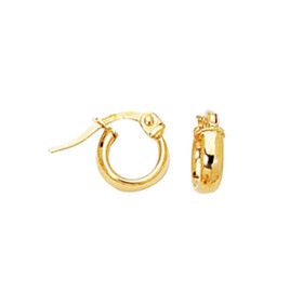 14K Yellow Gold Shiny Hoop Earring F100