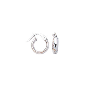 14K White Gold Shiny Round Hoop Earring F105