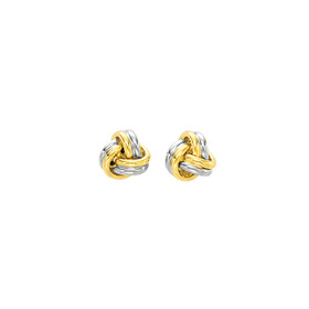 14kt Yellow+White Gold Shiny 2 Row Round Tube Small Love Knot Earring F889