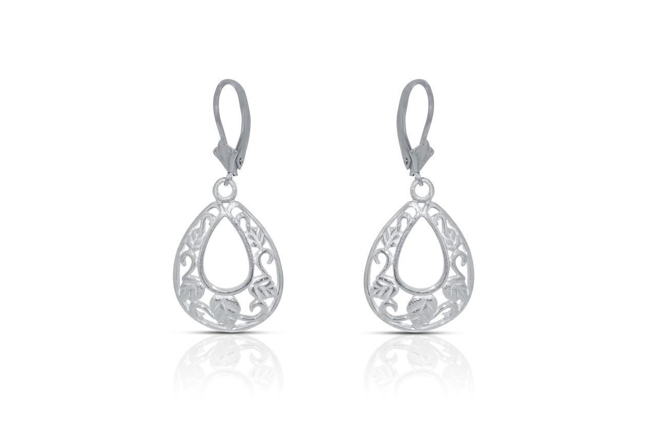 Sterling Silver Leaf Hanging Earrings