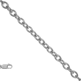 "14k Solid White Gold 1.8mm 16"" Cable Chain"