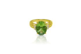 14K Yellow Gold Diamond Peridot Ring