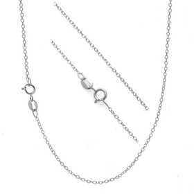 "14K Solid White Gold 0.50 MM 18"" Cable Chain 30002665"