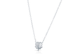 14K White Gold Four Leaf Clover Charm Necklace 30002609