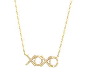 14K Yellow Gold Diamond Hugs and Kisses Adjustable Necklace