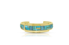 Sterling Silver Fancy Turquoise Cuff Bangle by Shin Brothers Jewelers Inc.
