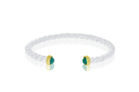 Sterling Silver With 14K Yellow Gold Emerald Cuff Twisted Bangle