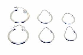 Sterling Silver Hoop Earrings 3 pairs Set by Shin Brothers Jewelers Inc.