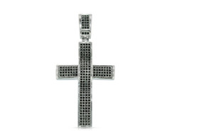 Silver Black Cubic Zirconia Cross Charm by Shin Brothers Jewelers Inc.