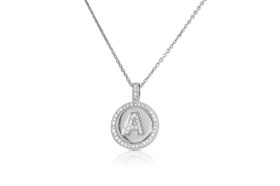 Sterling Silver Circular Shaped A Initial Charm Cable Necklace by Shin Brothers Jewelers Inc.